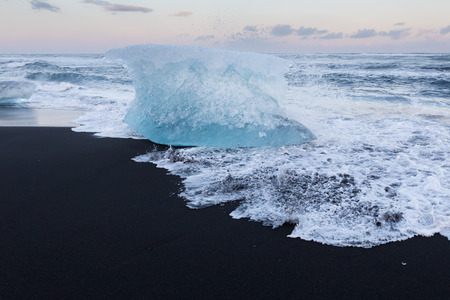 icefjord: Ice cube breaking on black sand beach, Iceland winter season lanscape background