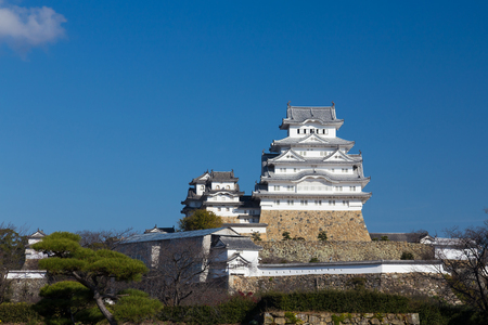 Himeji castle, Kansai Japan historic landmark background, against blue sky background
