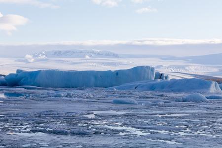 Ice lake winter season landscape background, natural winter season Iceland landscape background