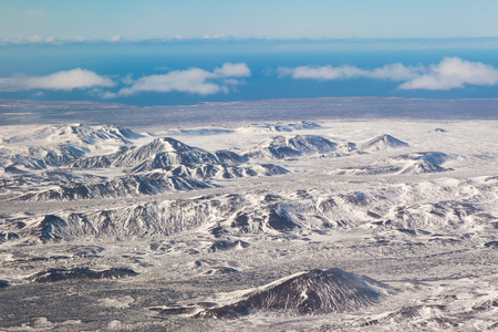 Natural Iceland winter season landscape mountain skyline aerial view