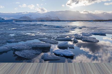 Opening wooden floor, Beauty Jokulsarlon lake iceberg lagoon Southeast of Iceland, natural landscape background Stock Photo