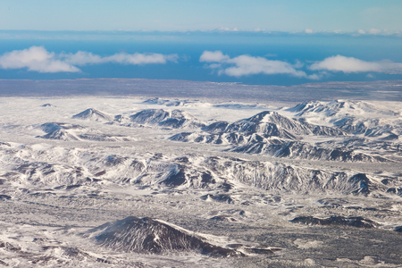 Top view, Snow mountain in winter season Iceland natural landscape background
