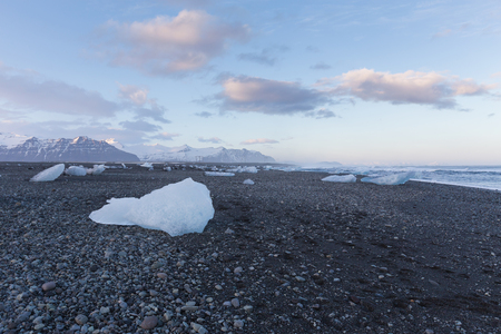 icefjord: Ice on black rock beach form iceberg skyline in winter season, Iceland natural landscape background
