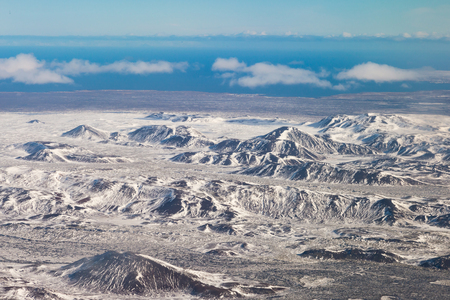 Beautiful winter season mountain view in Iceland, natural landscape background