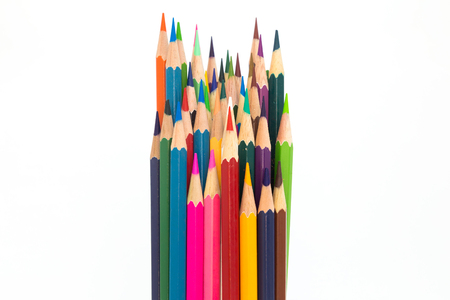 Multiple colours wooden pencil on white background, education tool