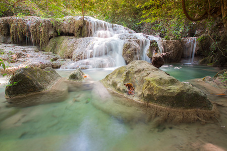 Natural deep forest tropical stream waterfall, natural landscape background
