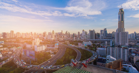 Aerial view city downtown business background with highway intersection, Bangkok Thailand Stok Fotoğraf