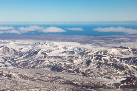Mountain snow covered natural landscape aerial view skyline, Iceland natural landscape background