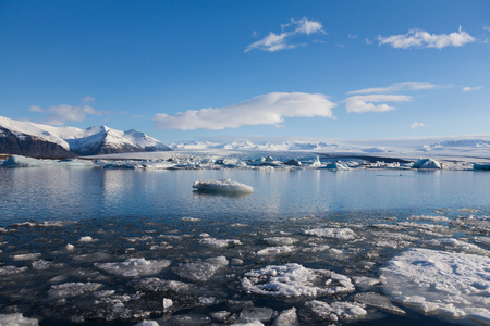 icefjord: Jakulsarlon natural ice lagoon with clear blue sky background, natural landscape background Stock Photo