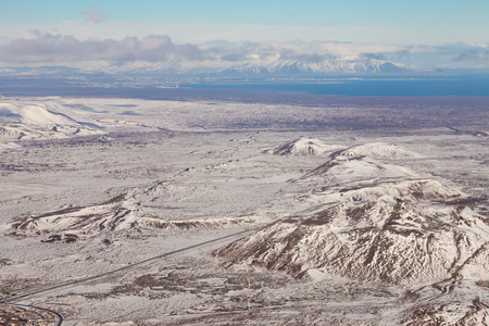 Top view Iceland mountain winter season natural landscape background