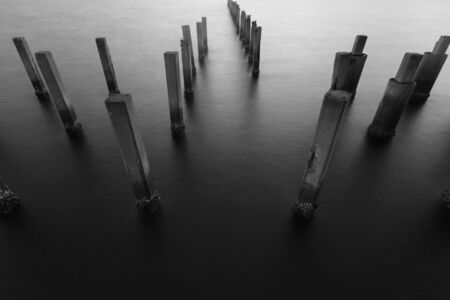 morning blue hour: Black and White, abandon seacoast abstract natural landscape background