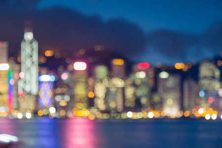 gloom: Hong Kong city business downtown blurred bokeh light at twilight abstract background
