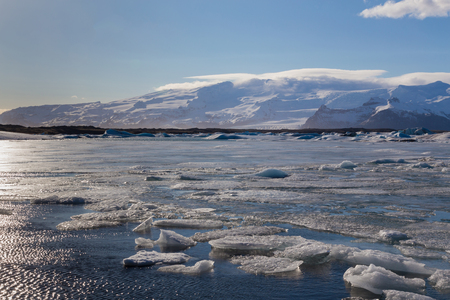 Beautiful natural winer season lagoon in Iceland, natural landscape background