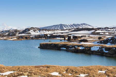 north cascade national park: Iceland natural Valcano lake front and clear blue sky background, natural landscape winter season background Stock Photo