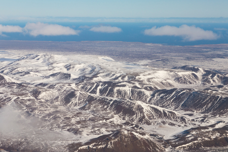 Aerial view Iceland mountain during winter season, winter season natural landscape background