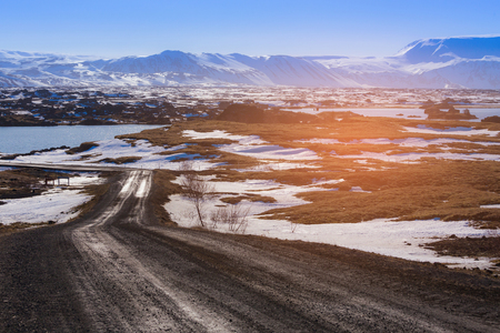 Iceland winter season country side with mountain landscape background Stock Photo