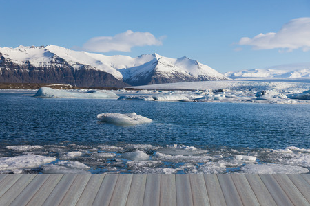 Opening wooden floor, Iceland Jakulsarlon lce lagoon winter season landscape background