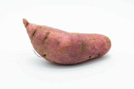Fresh root potato on white background, Isolated Stok Fotoğraf