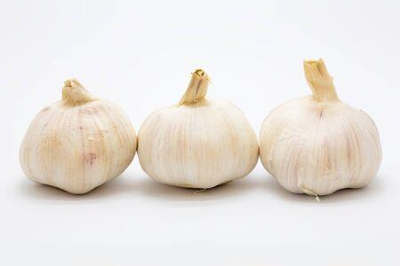 Fresh rood garlic on white background, Isolated Stock Photo
