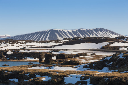 Icland winter seasion Myvatn volcano, natural landscape background