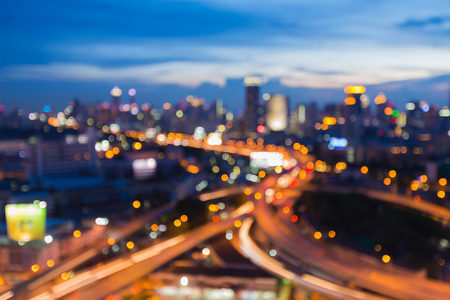 Beauty blurred bokeh light city and intersectin highway, abstract background