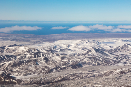 Beautiful Iceland mountain aerial view, natural landscape background
