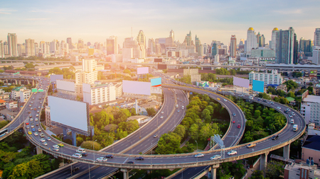 Aerial view city highway and downtown skyline background, Bangkok Thailand Reklamní fotografie