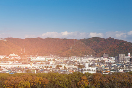 Residence downtown Kyoto city in mountain during autumn season Japan