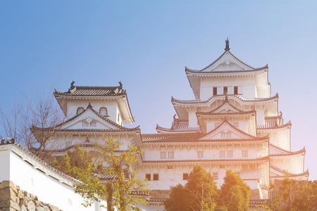 Himeji castle against clear blue sky background, Japan the world historic landmark
