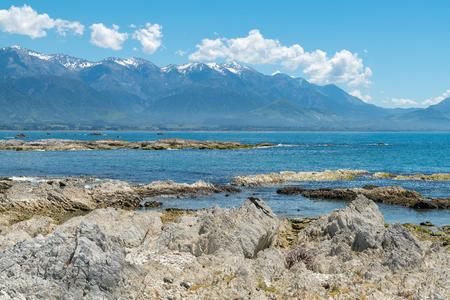 Beauty of Sea coast Kaikoura beach East Coast South Island New Zealand, natural landscape background Stock Photo