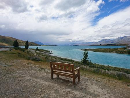 Lake Tekapo with mountain background natural landscape view, New Zealand South Island Stock Photo