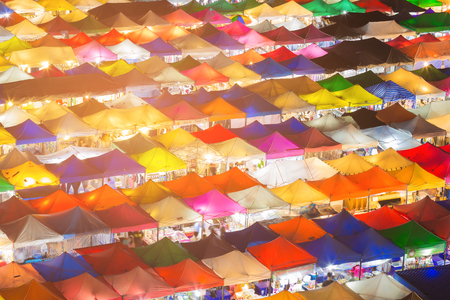 Multiple colour night market roof top, background and texture Stock Photo