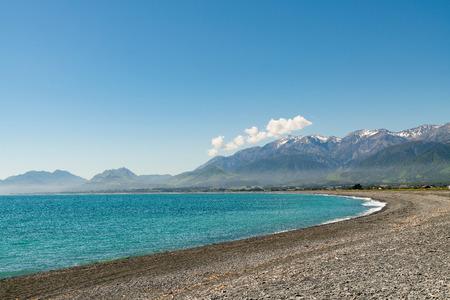 Kaikoura beach peninsula curved New Zealand east coast natural landscape background  Stock Photo