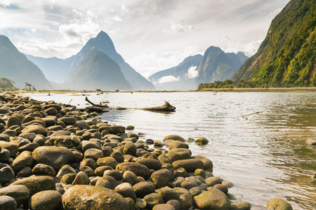 Milford Sound in Fiordland national park, South Island New Zealand natural landscape  Stock Photo