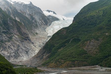 Franz Josef glacier in mountain, New Zealand natural landscape