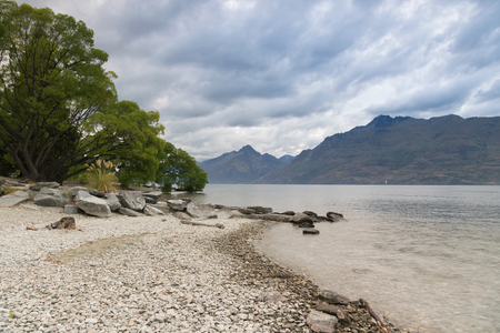 Beauty Wakatipu water lake in Queentown New Zealand natural landscape background Stock Photo