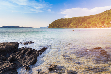 Beach seacoast and rock natural landscape background, nautral landscape