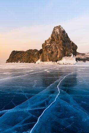Baikal russia rock over ice freezing floor, Russia winter season natural landscape