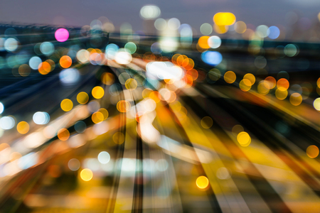 Big bokeh light over train track railway, abstract background