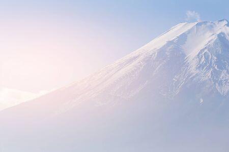 Top view close up Fuji Mountain, Japan natural landscape background