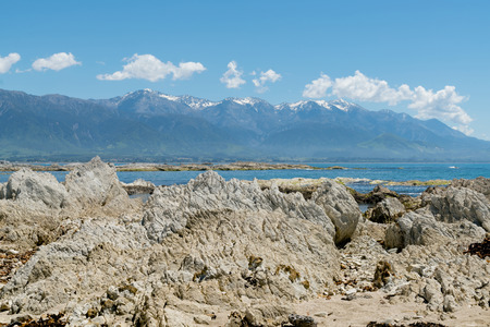 White volcano rock on sea shore with mountain background, New Zealand natural landscape