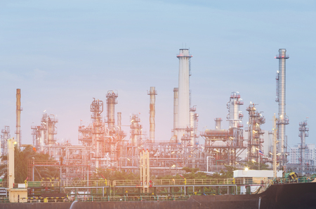 Oil refinery with clear blue sky background, industrial  background 写真素材
