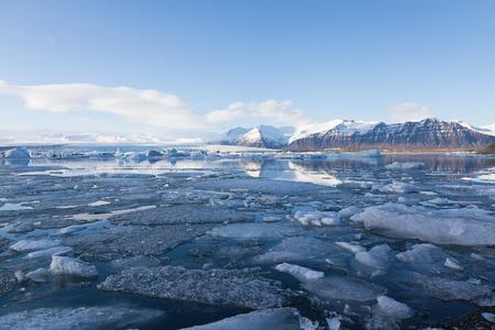 Iceland Jokulsarlon winter season lagoon natural landscape background