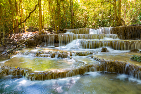 Tropical deep forest stream waterfall, natural landscape background