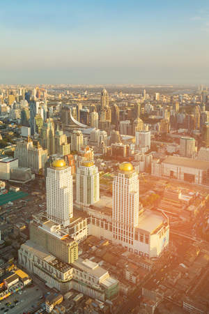 Bangkok city central business downtown aerial view, Thailand cityscape background