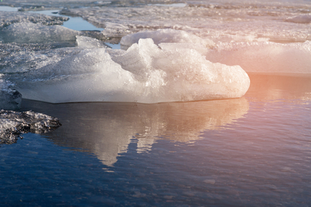 Frost Ice in water lake, Iceland winter season natural landscape background Banco de Imagens