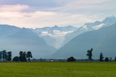 Fox Glacier over green glass field New Zealand natural landscape background