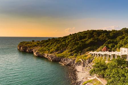 Sea coast over sunset skyline natural landscape background Stock Photo