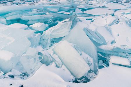 Breaking Ice surface, Russia Baikal winter season natural landscape background