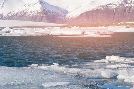 Jokulsarlon winter season lagoon natural landscape background